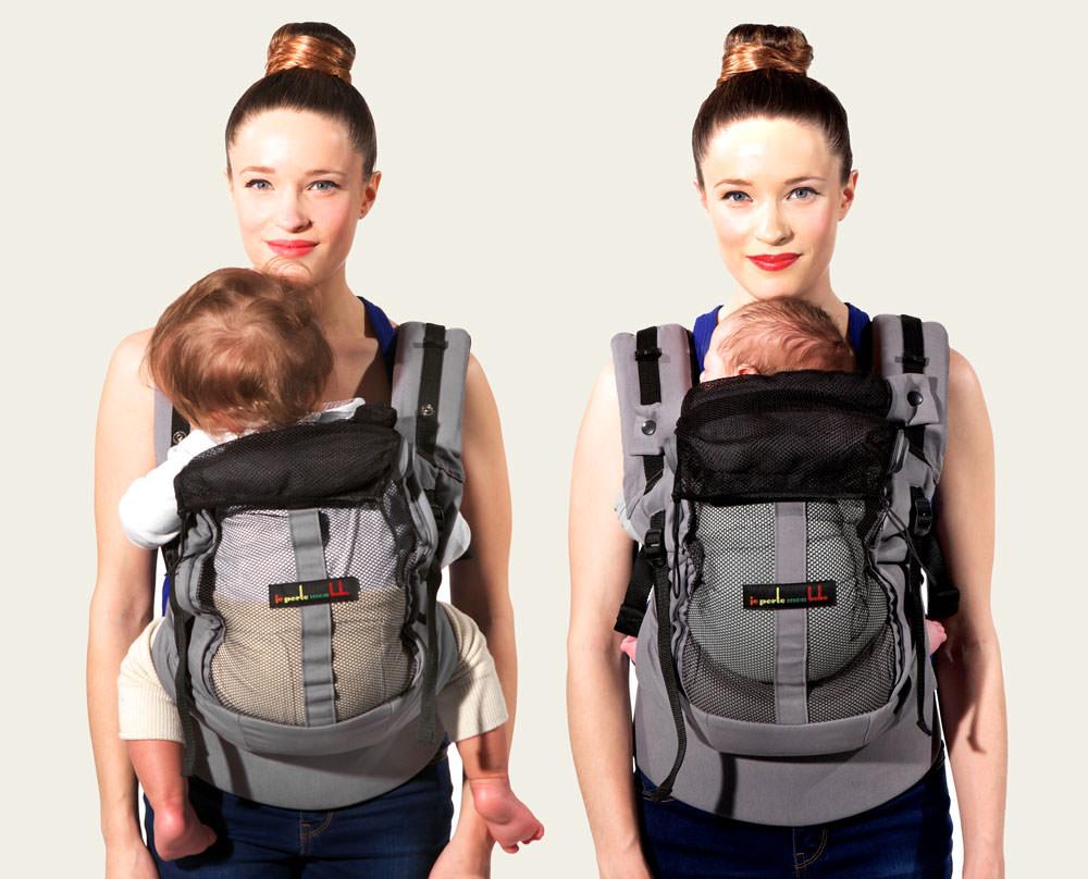 Physio Carrier, Rückenpaneel offen, mit Baby und mit Säugling